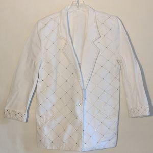 Jackets & Blazers - Oversized White Denim Bedazzled Jacket